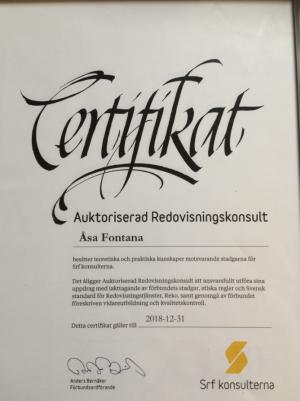 Certifikat till och med 2018